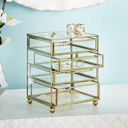 CosmoLiving by Cosmopolitan 54292 Modern Style Large, Rectangular Gold Metal and Clear Glass Jewelry Box with 4 Drawers, 7