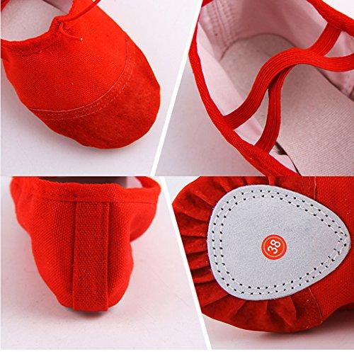 Doux Yoga Danse Toile Pilates Rouge Dogeek De Classique Chaussures Chaussons Femme Plate Chaussure Ballerine Ballet Homme Gymnastique Split vxAgx46q