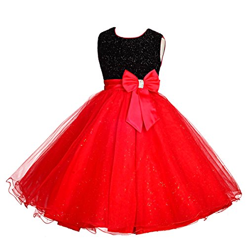 Dressy Daisy Girls' Occasion Dresses Flower Girl Wedding Pageant Party Dress Size 7-8 Black Red