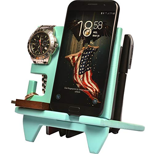 Wood Compact Cell Phone Stand Watch Holder. Men Device Dock Organizer Mobile Base Nightstand Charging Docking Station. Women Accessory Wooden StorageBed Side Caddy Teen Valet Happy Birthday Gift