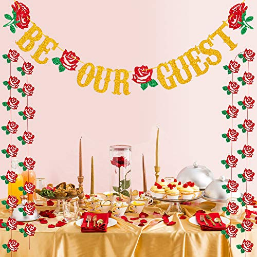 Beauty And The Beast Party Supplies Be Our Guest Banner For Engagement Wedding Bridal Shower Party Supplies Decoration]()