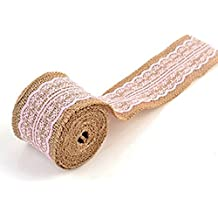 "2 Pcs Burlap Ribbon Roll Pink Lace Trims Tape For Christmas Gift Packaging Crafts-Length:78""/1 Pcs"