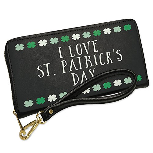 Wallet Clutch I Love St. Patrick's Day St. Patrick's Day Cute Shamrocks with Removable Wristlet Strap Neonblond by NEONBLOND (Image #5)