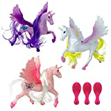 12 Pack Plastic 4 Inch Unicorn Figures | Mini Toy Unicorns Figurines Set with Hair, Tails, and Brush for Girls Bulk Party Favors Supplies (1 Dozen)