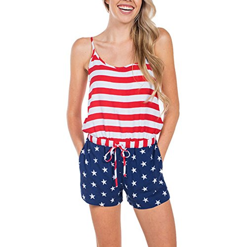 Respctful✿Womens Jumpsuit American Flag Print Summer Sleeveless Shorts Jumpsuit Casual Rompers for Woman ()