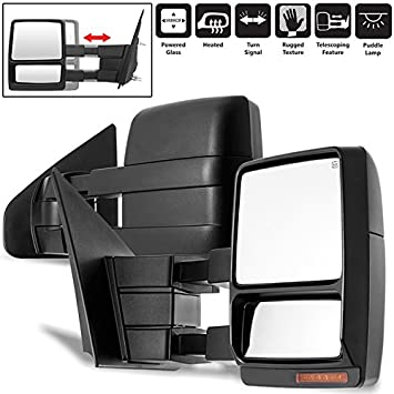 L+R For 07-14 Ford F150 Power+Heated+Signal+Puddle Telescoping Tow Mirror