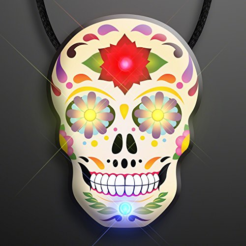 Flashing Light Up Sugar Skull Necklace for Day of The Dead Celebrations