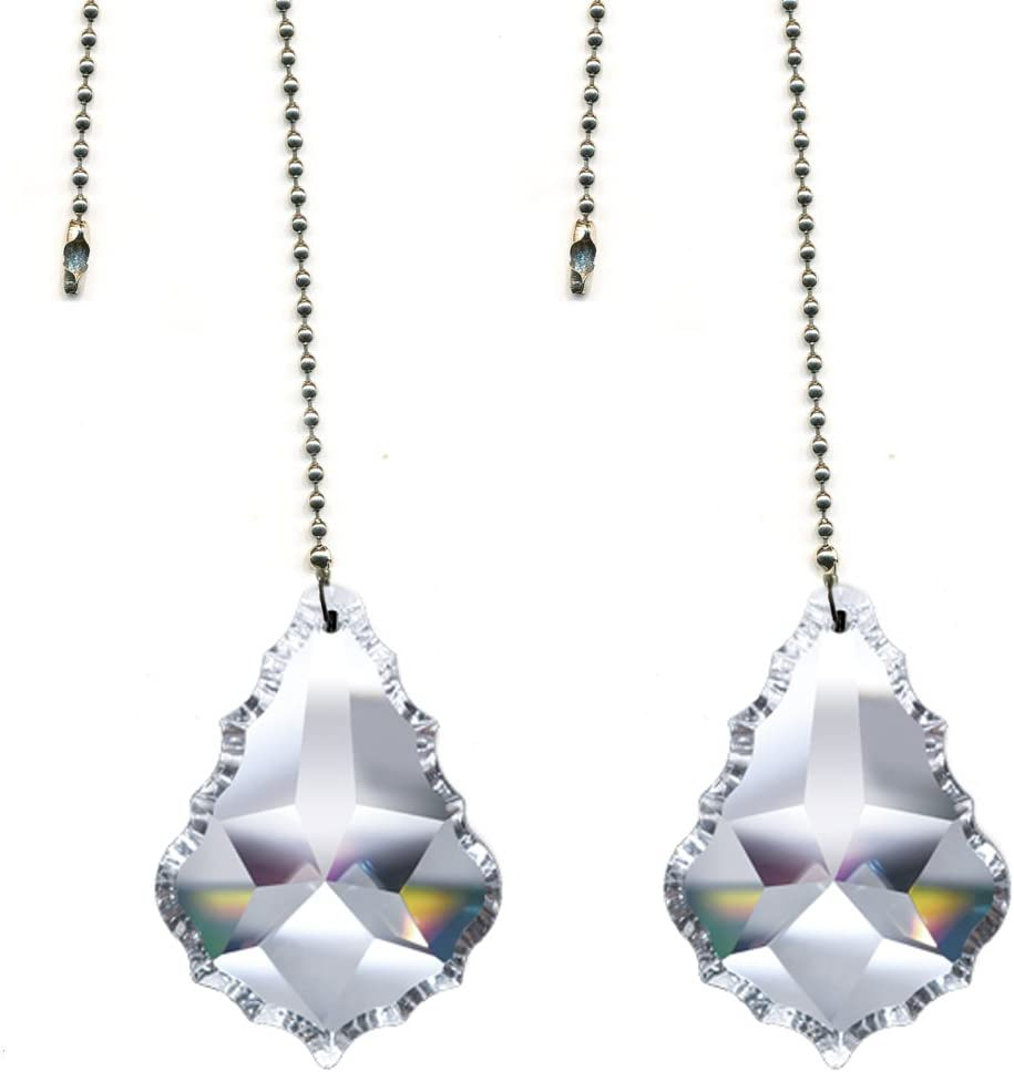 """Magnificent Crystal 2"""" Clear Crystal Pendeloque Prism, 2 Pcs Dazzling Crystal Ceiling Fan Pull Chains"""