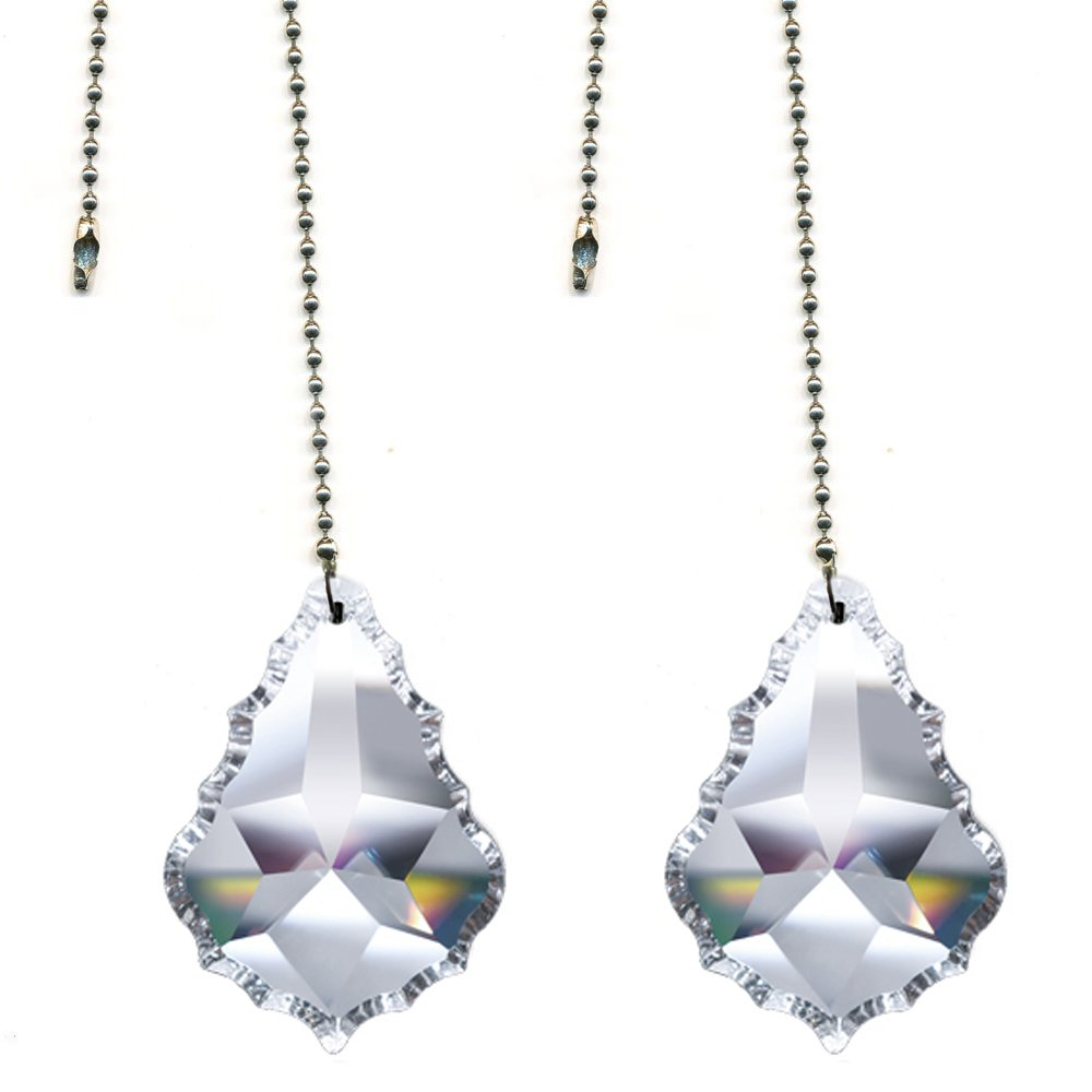 Magnificent crystal 2'' Clear Crystal Pendeloque Prism, 2 Pcs Dazzling Crystal Ceiling Fan Pull Chains