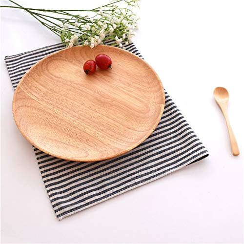(Cacys-Store - Party Supply Wooden Serving Plates Flat Rubber Wood Pattern Tableware Salad Sushi Cakes Dessert Pizza Dishware 7-10 in)