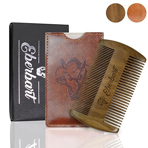 Anti-Snag Beard Comb (Sandalwood) with Case – Bonus Free Beard Ebook, Travel Size, Ideal Unique Gift, Wood Beard Comb Pocket Size – Both Fine and Wide Tooth by Eberbart