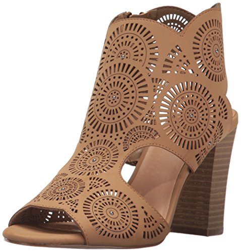 Tan Peep Toe (XOXO Women's Benedetta Heeled Sandal, Tan, 7.5 M US)