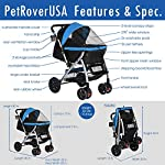 HPZ Pet Rover Premium Heavy Duty Dog/Cat/Pet Stroller Travel Carriage with Convertible Compartment/Zipperless Entry/Reversible Handlebar/Pump-Free Rubber Tires for Small, Medium, Large Pets 16