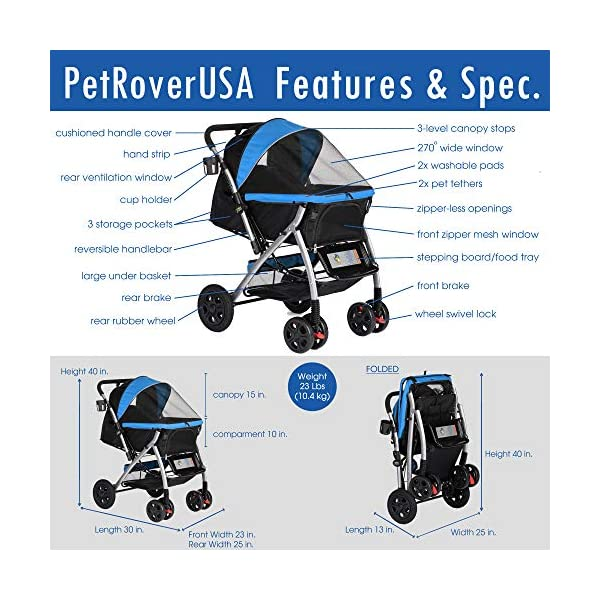 HPZ Pet Rover Premium Heavy Duty Dog/Cat/Pet Stroller Travel Carriage with Convertible Compartment/Zipperless Entry/Reversible Handlebar/Pump-Free Rubber Tires for Small, Medium, Large Pets 7