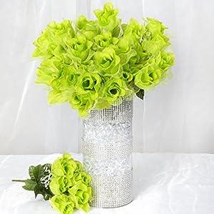 BalsaCircle 84 Lime Green Organza Rose Buds - 12 Bushes - Artificial Flowers Wedding Party Centerpieces Arrangements Bouquets Supplies 2