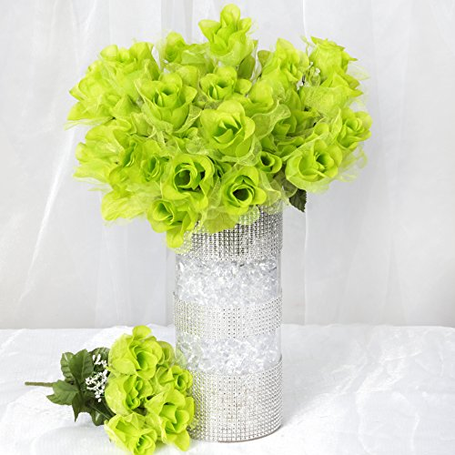 BalsaCircle 84 Lime Green Organza Rose Buds - 12 Bushes - Artificial Flowers Wedding Party Centerpieces Arrangements Bouquets