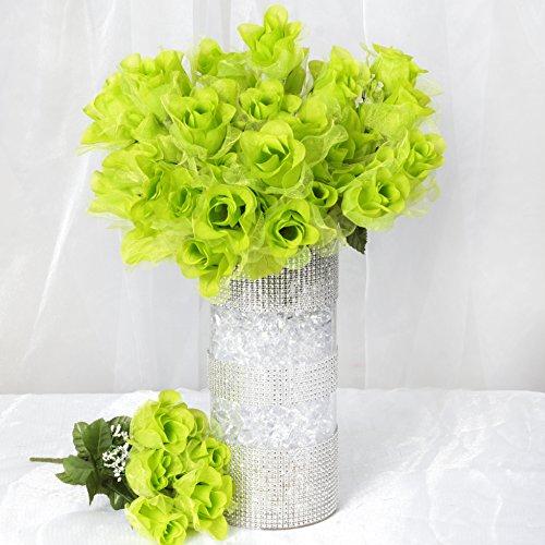 BalsaCircle 84 Lime Green Organza Rose Buds - 12 Bushes - Artificial Flowers Wedding Party Centerpieces Arrangements Bouquets Supplies