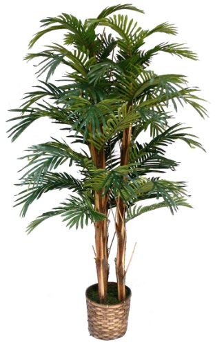 Laura Ashley 5 Foot Tall High End Realistic Silk Palm Tree with Wicker Basket Planter by Laura Ashley