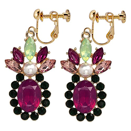 Bohemian Floral Flower Clip On Earrings Multicolour exquisite Deco Dangle Drop Proms Club Gift