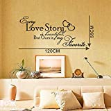 """21.7"""" X 47.2"""" Every Love Story Is Beautiful, but Ours Is My Favorite Olivia Vinyl Wall Sticker Saying Lettering Quotes Boys Girls Bedroom Livingroom Decoration Decor Sticker Room Home Mural Art"""