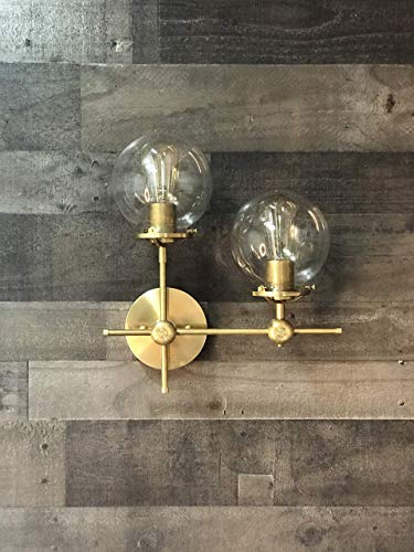 Gold Raw Brass Modern Mid Century Wall Sconce Industrial 2 Light 6 Inch Clear Globes Vanity Light ()