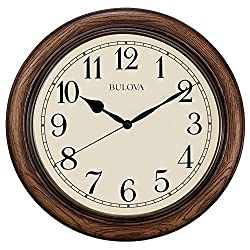Bulova Oakbrook Dark Oak Wood 16 Round Wall Clock