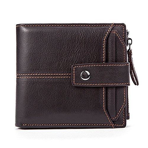 - Fezhiomu Original Classic RFID Men's Bifold Genuine Leather Wallet and Purse Credit Card Holder Case with Gift Box