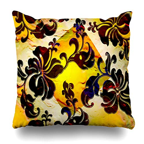 Ahawoso Throw Pillow Cover Psychedelic Acid Abstract Rainbow Tyedye Tropical Floral Art Diamond Clip Hawaiian Distressed Flower Decorative Pillowcase Square 18