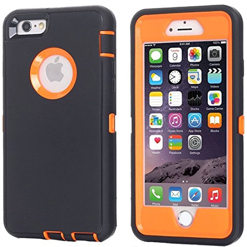 Annymall Case Compatible for iPhone 8 & iPhone 7, Heavy Duty [with Kickstand] [Built-in Screen Protector] Tough 4 in1 Rugged Shorkproof Cover for Apple iPhone 7 / iPhone 8 (Orange)