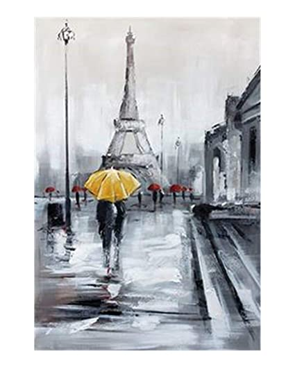 Wowdecor Wall Art Modern Canvas Prints Painting Paris Eiffel Tower Yellow Umbrella City Street View Giclee Pictures Printed On Canvas Wall Decor