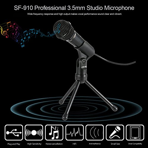 Jeystar SF-910 Condenser Sound Microphone with 3.5mm Audio Plug & Tripo For Computer PC by Jeystar (Image #9)