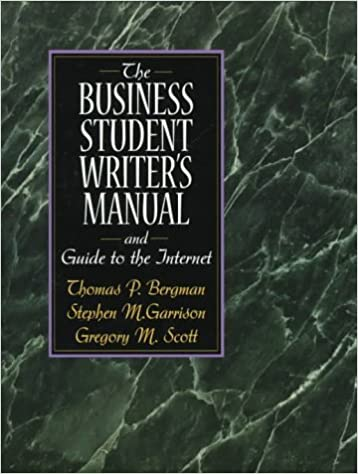 Book The Business Student Writer's Manual by Thomas P. Bergman (1997-11-11)
