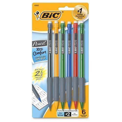BIC MPFGP61 Matic Grip Mechanical Pencil - #2 Pencil Grade - 0.5 mm Lead Size - Black Lead - Black, Gray Barrel - 6 / Pack