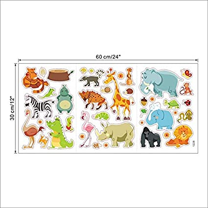 JEWH Jungle Adventure Animals Wall Stickers for Kids Rooms Safari Nursery Rooms Baby Home Decor Poster