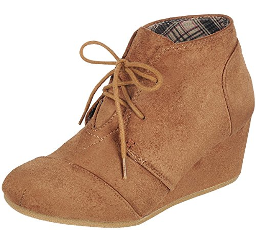 Women's up Forever Ankle Tan Wedge Bootie Hidden Lace Link w4RRAF