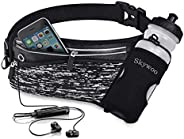 Skywoo Running Belt Waist Pack with Water Bottle Holder Fanny Pack Reflective Compatible for iPhone X/XS Max/X