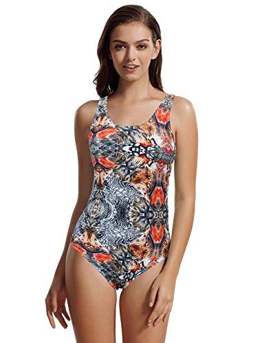 zeraca Women's Sporty One Piece Swimsuit Swimwear (S6, - Sporty Piece Suits Bathing One