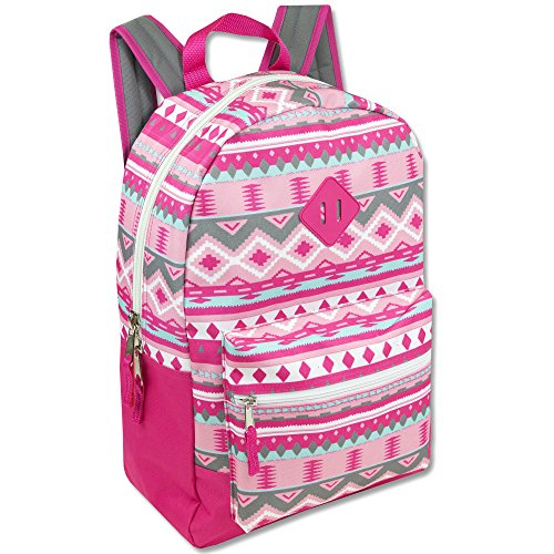 Trailmaker Girls' All Over Printed Backpack 17 Inch With Padded Straps - Pink Kids Backpack