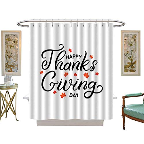 Tree Four Seasons Shower CurtainHand drawn lettering card The inscription Happy Thanks Giving day Perfect design for greeting cards posters T-shirts banners print invitations . Bathroom Sets with