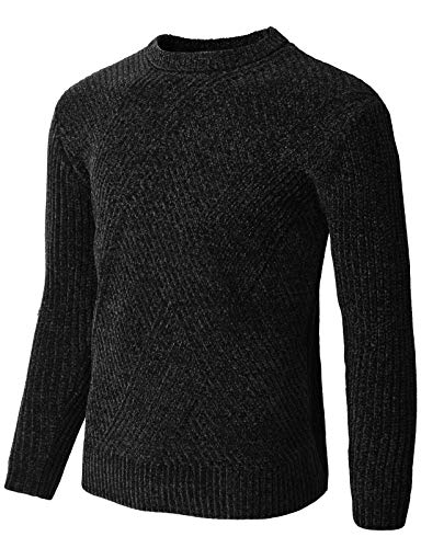 Velour Long Sleeve Jacket - H2H Mens Slim Fit Basic Knitted Long Sleeve Crew-Neck Velvet Pullover Sweaters Black US L/Asia XL (KMOSWL266)