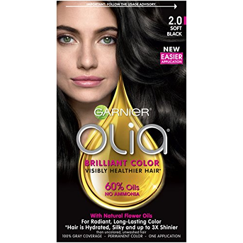 Garnier Olia Ammonia Free Permanent Hair Color, 100 Percent Gray Coverage (Packaging May Vary), 2.0 Soft Black Hair Dye, 1 Kit