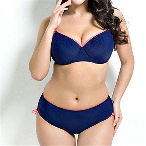 Uskincare Traje de Baño Mujer Talla Grande Bañador con Tirantes Playa Verano 3-Azul Oscuro