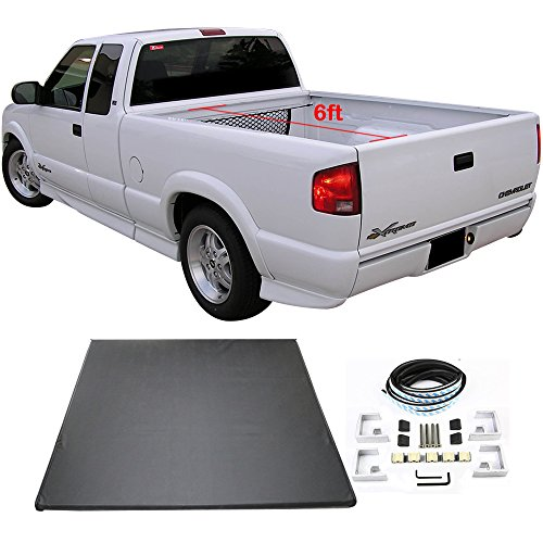 Tonneau Cover Fits 1994-2004 Chevy S10 GMC S15 | Tri-Fold Soft Style Double sided 24 oz vinyl Aluminum Black 6ft Short Bed By IKON MOTORSPORTS | 1995 1996 1997 1998 ()