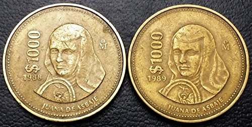 Unbranded LOT OF 2 MEXICO 1000 PESOS COINS1988 & 1989