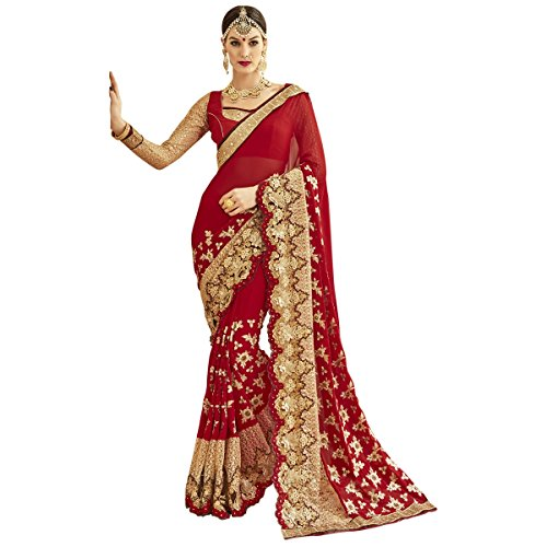 Triveni Women's Indian Red Embroidered Faux Georgette Wedding Saree