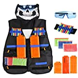 Tactical Vest Kit Tactical Vest Jacket for Nerf Guns N-Strike Elite Series with 60pcs Darts + Protective Glasses +1x 6-Darts&2x 12-Darts Quick Reload Clips + Face Tube Mask+2 Hand Wrist Bands
