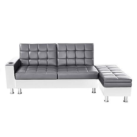 misssnower piel sintética sofá cama con otomana de ...