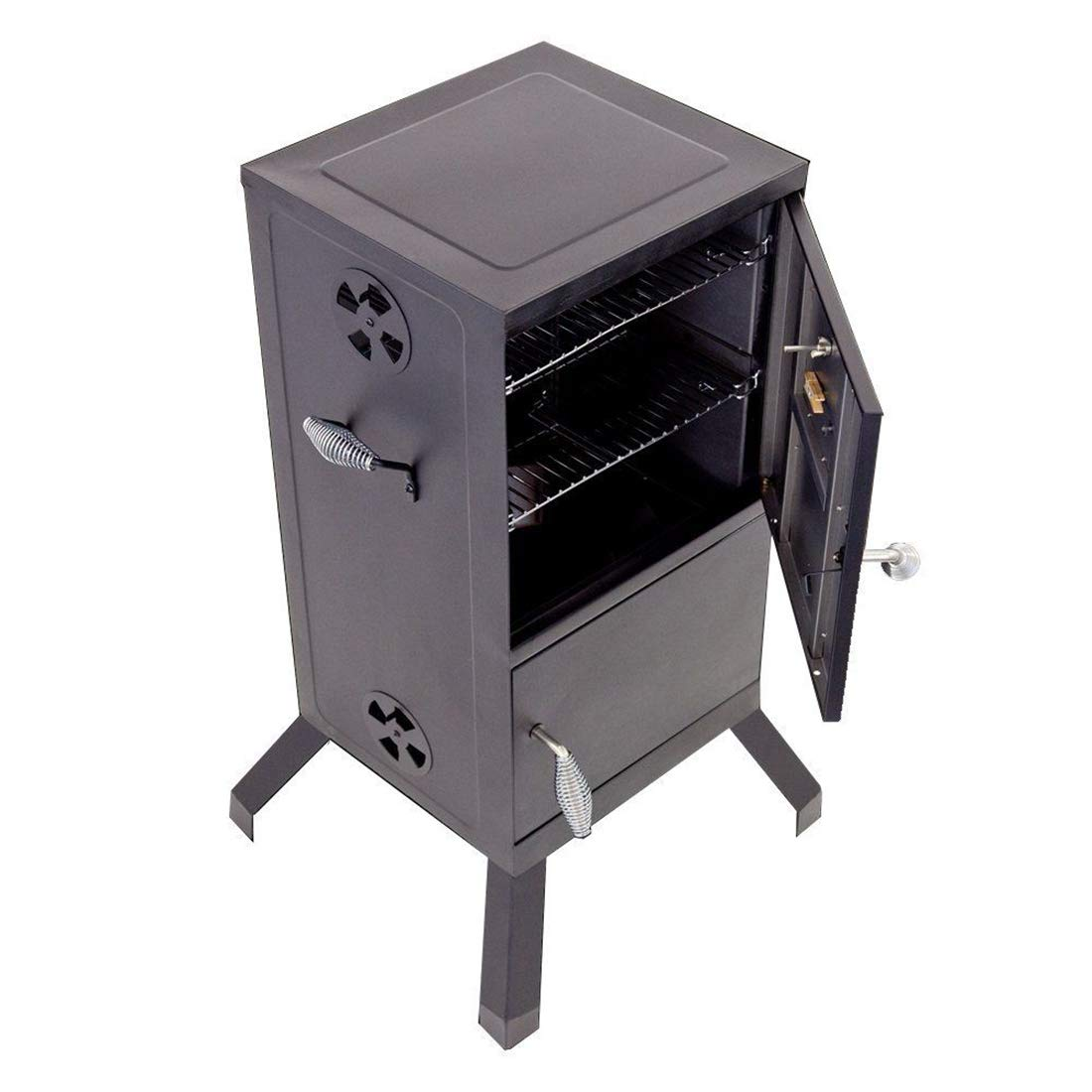 FossExpress New Grill Cooker [Vertical Steel Chamber 21.5 x 20.8 x 39 inches] - Charcoal Smoker - Work Great for BBQ Cooking - Outdoor, Patio Backyard - Black by FossExpress (Image #4)