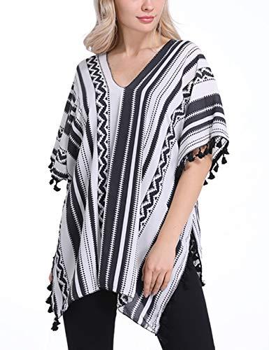 (Bsubseach Women Summer Loose Black Stripe V Neck Short Sleeve Beach Swimwear Swimsuit Cover Up Top)
