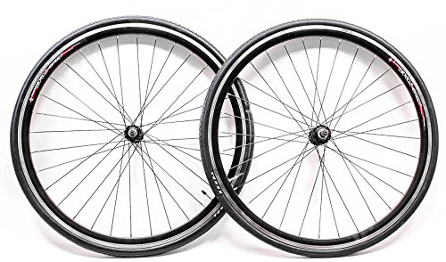 (700c Aluminum Road Bike Wheelset Freewheel Compatible Front+Rear + 25c Tires NEW )